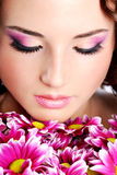 Woman face with chrysanthemum Stock Photo