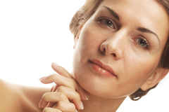Woman face with clean purity skin Royalty Free Stock Photo