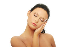 Woman face with clean skin Stock Photos