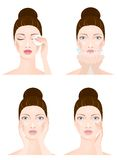 Woman face cleaning, four stages Royalty Free Stock Photography