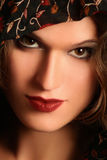 Woman face close-up. Beautiful woman face with red lips close-up Royalty Free Stock Photography