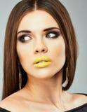Woman face close up beauty portrait. Beautiful model Stock Photos