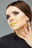 Woman face close up beauty portrait. Beautiful mod Stock Photography