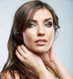 Woman face close up beauty portrait. Female model isolated. Stock Photos
