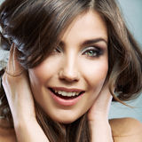 Woman face close up beauty portrait. Female model  Royalty Free Stock Photo