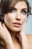 Woman face close up beauty portrait. Female model  Stock Photo