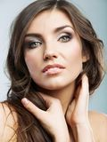 Woman face close up beauty portrait. Female model isolated. Stock Photography