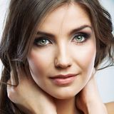 Woman face close up beauty portrait. Female model isolated. Royalty Free Stock Images