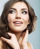 Woman face close up beauty portrait. Female model isolated. royalty free stock image
