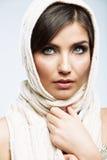 Woman face close up beauty portrait. Female model poses Stock Photos