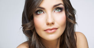 Woman face close up beauty portrait. Girl with long hair lookin Royalty Free Stock Photos