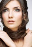 Woman face close up beauty portrait. Girl with lon Stock Image