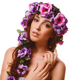 Woman face close-up head beauty, wreath flowers Stock Photography
