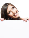 Woman face close up portrait behind the big board Royalty Free Stock Photo