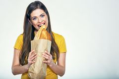 Free Woman Face Close Up Portrait, Girl Bites Bread. Royalty Free Stock Images - 115937329