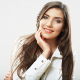 Woman face close up white backround isolated. Smiling girl port Royalty Free Stock Photo