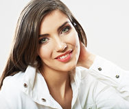 Woman face close up white backround isolated. Smiling girl port Royalty Free Stock Photography