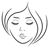 Woman face with closed eyes. Hand drawing vector outline royalty free illustration