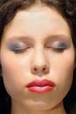 Woman face closeup, makeup Stock Photos