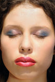 Woman face closeup, makeup Stock Images