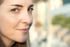 Woman face closeup. Royalty Free Stock Images