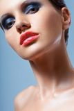 Woman face closeup portrait with smoky eyes Royalty Free Stock Photos