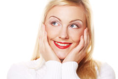 Woman face closeup with vivid red lipstick Royalty Free Stock Image