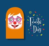 Woman face with clown mask tongue out funny fools day. Vector illustration Stock Photography
