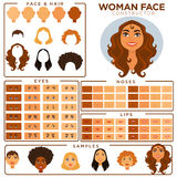 Woman face constructor skin, haircut nose and eyes templates vector set. Woman face avatar constructor templates of female skin, haircut and make-up types, eyes Stock Photos