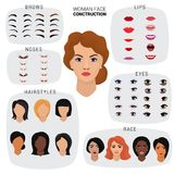 Woman face constructor vector female character avatar creation head lips nose and eyes illustration set of facial. Elements construction and hairdo or hairstyle stock illustration