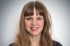 Woman face before and after cosmetic makeup. Retouch concept royalty free stock photos