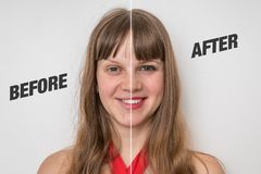 Woman face before and after cosmetic makeup. Retouch concept royalty free stock photo