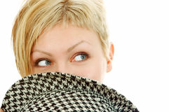 Woman face cover hat Royalty Free Stock Image