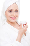 Woman with face cream Royalty Free Stock Photography