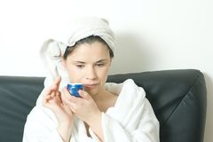 Woman with face cream Royalty Free Stock Photos