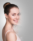 Woman face crushed Royalty Free Stock Image