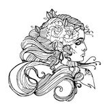 Woman face with curly hair and flower. Girl tattoo vector template on white background. Cool retro styled Female tattoo. Stock Photography