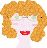 Woman face curly hair illustration Royalty Free Stock Photography