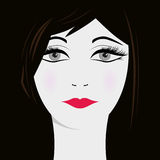 Woman face on dark background,  Stock Images