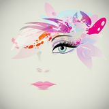 Woman face with design elements, fashion concept. Vector Royalty Free Stock Photos