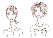 Woman face in different images Stock Photo
