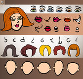 Woman face elements set cartoon illustration Stock Photos