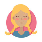 Woman Face Emotive Vector Icon in Flat Style Stock Photos