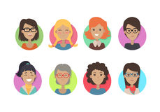 Woman Face Emotive Vector Icons in Flat Style Set Royalty Free Stock Photos