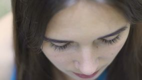 Woman face with eyes closed deep meditation, serenity peace of mind no thoughts. Stock footage stock video footage