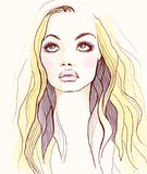 Woman face. Fashion illustration Royalty Free Stock Images