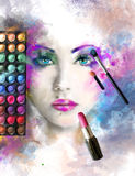Woman face. fashion illustration. make up, abstract Royalty Free Stock Photography