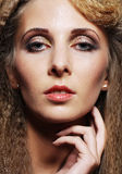 Woman face with fashion make-up. Stock Photos