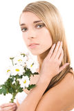 Woman face, fashion portrait with flowers Stock Photos
