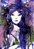 Woman face. Fashion Watercolor Illustration Royalty Free Stock Photography